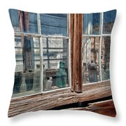 Bottles In The Window Throw Pillow by Cat Connor