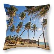 Bottom Bay Beach In Barbados Caribbean Throw Pillow