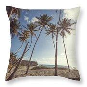 Bottom Bay Tropical Beach In Barbados Caribbean Throw Pillow