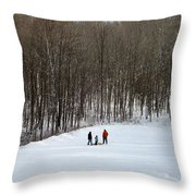 Bottom Of The Sled Hill Throw Pillow