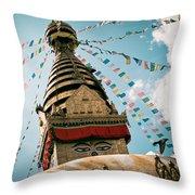 Boudhnath Stupa In Nepal Throw Pillow by Raimond Klavins