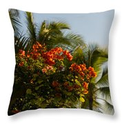 Bougainvilleas And Palm Trees Swaying In The Wind In Waikiki Honolulu Hawaii Throw Pillow