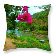 Bouganvilla Watches Over Village Fishing Boats Throw Pillow