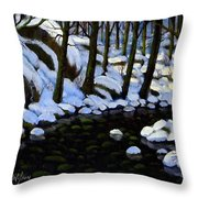 Boulder Brook In Winter Throw Pillow