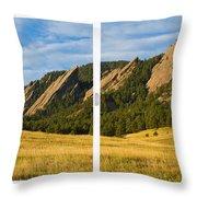 Boulder Colorado Flatirons White Window Frame Scenic View Throw Pillow