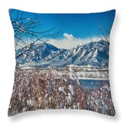 Boulder Colorado Winter Season Scenic View Throw Pillow