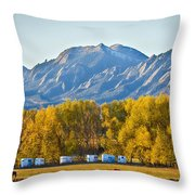 Boulder County Colorado Flatirons Autumn View Throw Pillow
