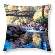 Boulder Creek Bridge Throw Pillow