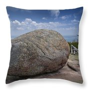 Boulder On Top Of Cadilac Mountain In Acadia National Park Throw Pillow