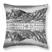 Boulder Reservoir Flatirons Reflections Boulder Co Bw Throw Pillow