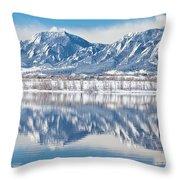 Boulder Reservoir Flatirons Reflections Boulder Colorado Throw Pillow