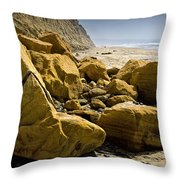 Boulders On The Beach At Torrey Pines State Beach Throw Pillow