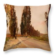 Boulevard Of Poplars Near Plankenberg Throw Pillow