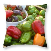 Bountiful Peppers Throw Pillow