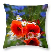 Bouquet Of Fresh Poppies Camomiles And Cornflowers Throw Pillow