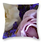 Roses And Violets  Throw Pillow
