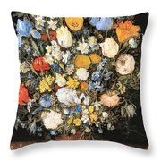 Bouquet In A Clay Vase Throw Pillow