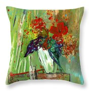 Bouquet In A White Vase Throw Pillow