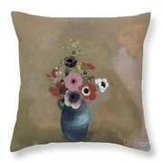 Bouquet Of Anemones Throw Pillow by Odilon Redon