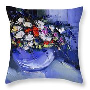 Bouquet Of Daisies And Chrysanthemums Throw Pillow