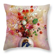 Bouquet Of Flowers In A Japanese Vase Throw Pillow by Odilon Redon