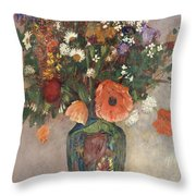 Bouquet Of Flowers In A Vase Throw Pillow by Odilon Redon