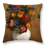 Bouquet Of Flowers In A White Vase Throw Pillow