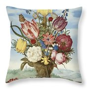 Bouquet Of Flowers On A Ledge Throw Pillow