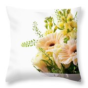 Bouquet Of Flowers On White Background Throw Pillow
