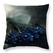 Bouquet Of Grape Hyiacints On The Dark Textured Surface Throw Pillow