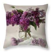 Bouquet Of Lilacs In A Glass Pot Throw Pillow