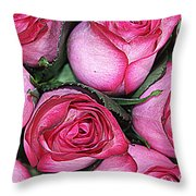 Bouquet Of Pink Roses Throw Pillow