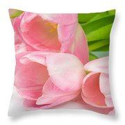 Bouquet Of Pink Tulips. Throw Pillow
