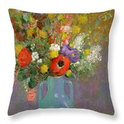 Bouquet Of Wild Flowers  Throw Pillow by Odilon Redon