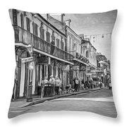 Bourbon Street Afternoon - Paint Bw Throw Pillow