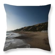 Bournemouth Beach Huts Throw Pillow