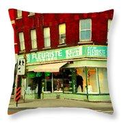 Boutique Fleuriste Coin Vert St Henri Flower Shop Notre Dame Montreal Urban Scenes Carole Spandau  Throw Pillow