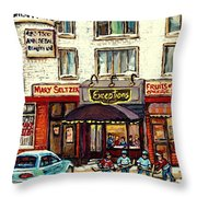 Boutique Mary Seltzer Dress Shop Cote St Luc Montreal Paintings Hockey Art City Scenes Cspandau Throw Pillow