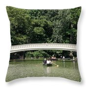 Bow Bridge And Row Boats Throw Pillow