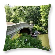 Bow Bridge And Rowboat Nyc Throw Pillow