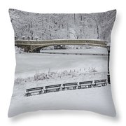 Bow Bridge Central Park Winter Wonderland Throw Pillow