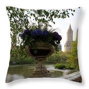 Bow Bridge Flowerpot And San Remo Nyc Throw Pillow