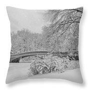 Bow Bridge In Central Park During Snowstorm Bw Throw Pillow by Susan Candelario