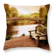 Bow Bridge Nostalgia 2 Throw Pillow