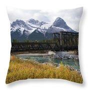 Bow River Railroad Trestle Throw Pillow