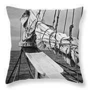 Bow Sprit In Bnw Throw Pillow