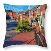 Bow Street Looking Downhill Towards Market Street Throw Pillow