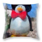 Bow Tie Penguin Photo Art Throw Pillow