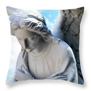 Bowing Male Angel With Blue Sky And Clouds Throw Pillow