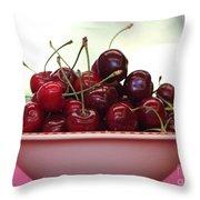 Bowl Of Cherries Closeup Throw Pillow